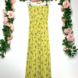 Forever 21 Yellow floral maxi dress size Medium